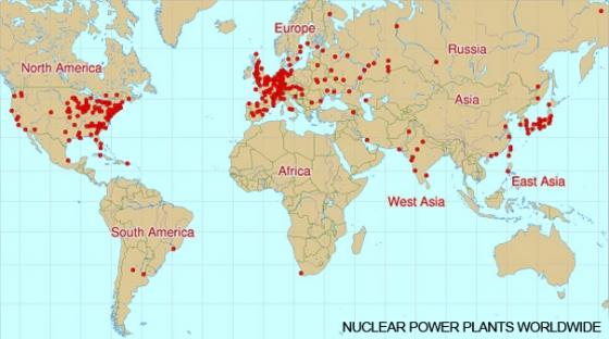 Карта размещения атомных реакторов