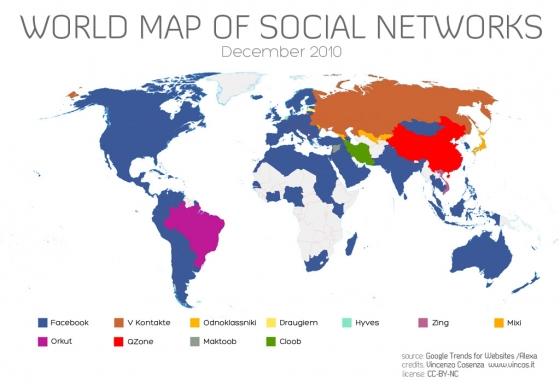 Карта захвата мира соцсетями