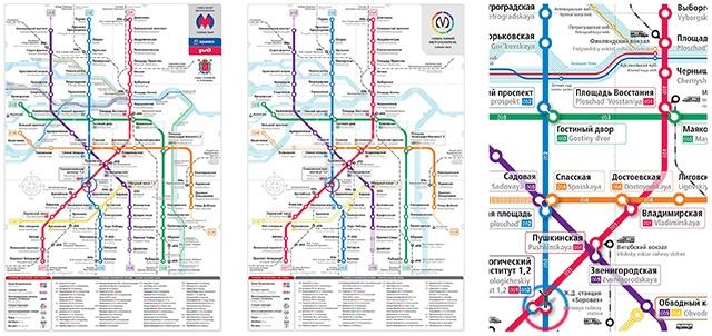 Совмещенная карта Петербургского метрополитена и наземного транспорта