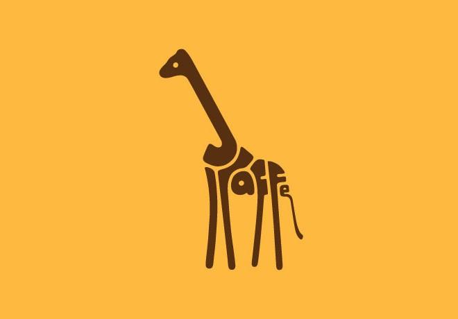6-giraffe-typography-design