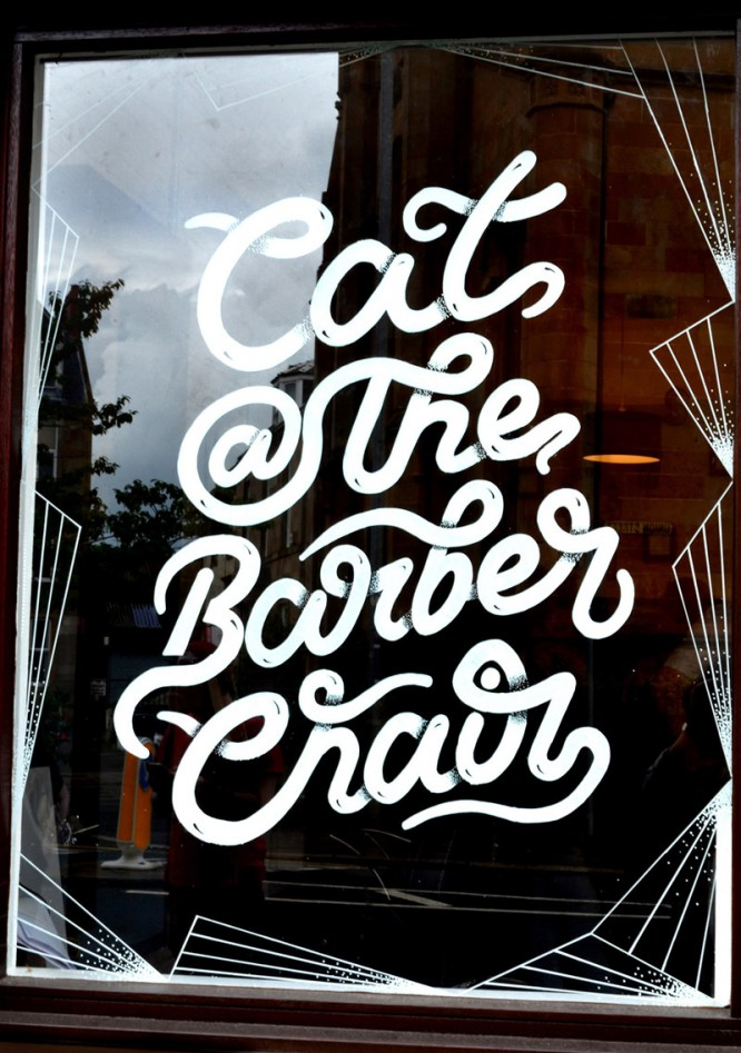 Cat @ The Barber Chair - Typographic Window Mural