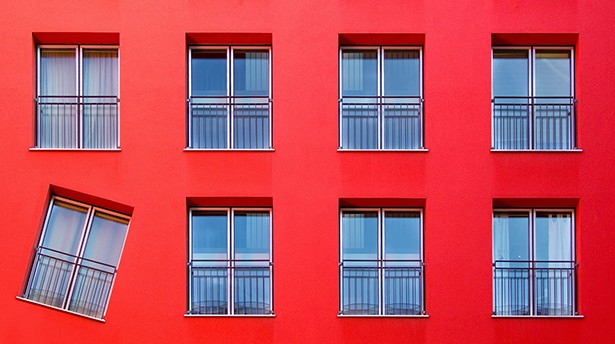 Red color building and windows