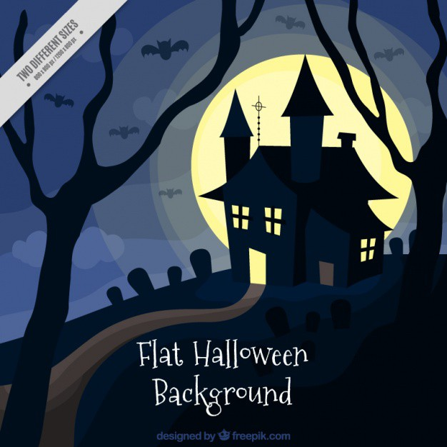 halloween-background-with-a-house-in-flat-style_23-2147571311
