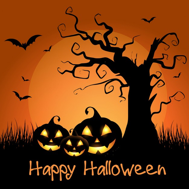 spooky-halloween-background-with-tree-and-pumpkins_1048-3052