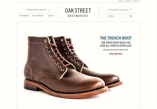 Screenshot of a clean website: Oak Street Bootmakers