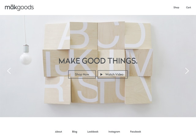 Screenshot of a clean website: makgoods