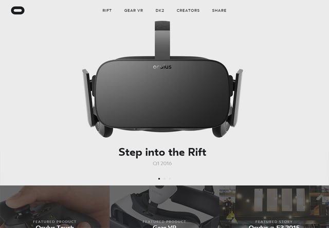 Screenshot of a clean website: Oculus