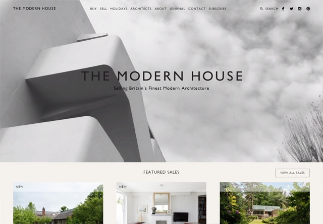 Screenshot of a clean website: The Modern House