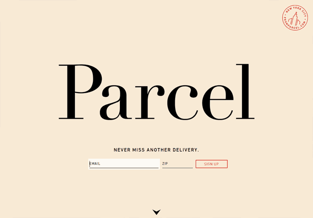 Screenshot of a clean website: Parcel