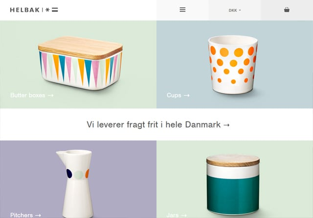 Screenshot of a clean website: Helbak Ceramics