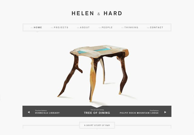 Screenshot of a clean website: Helen & Hard