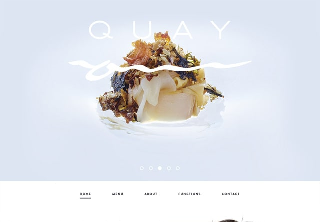 Screenshot of a clean website: Quay Restaurant