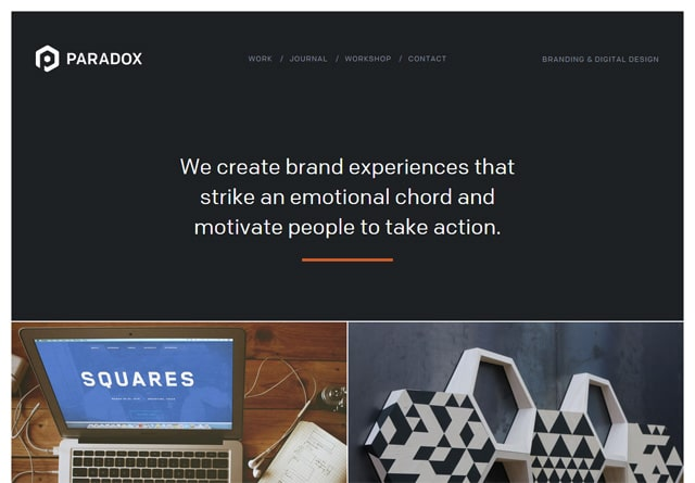 Screenshot of a clean website: Paradox Design Studio