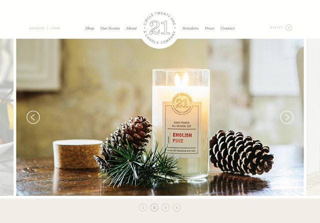 Screenshot of a clean website: Circle 21 Candles
