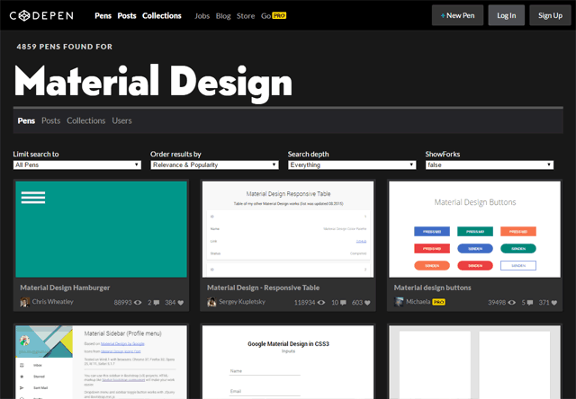 Material Design - CodePen