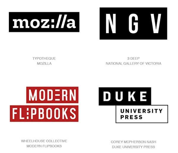 Текстовые блоки в трендах логотипов 2017